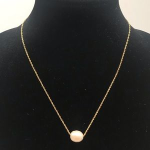 14K Gold chain, Fresh water pearl pendant -fwp12